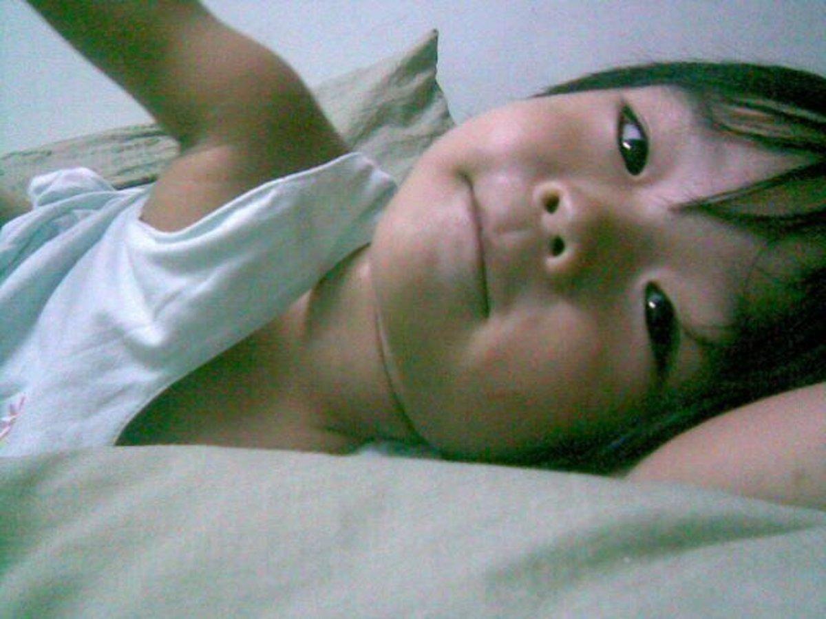Bronwyn at age 2. Searching sleep