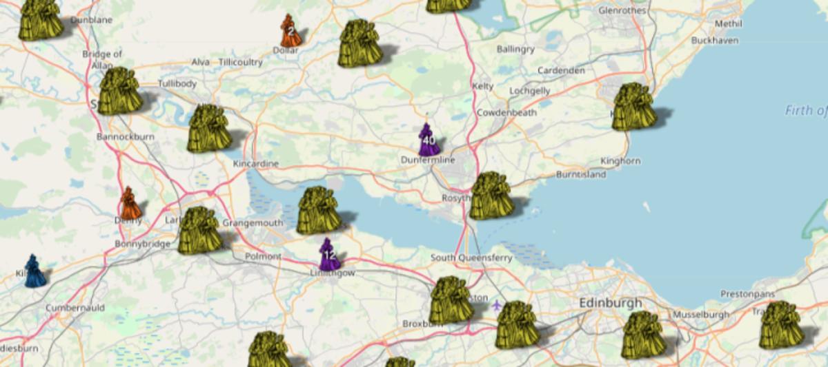 Scotland Witch Hunts Map