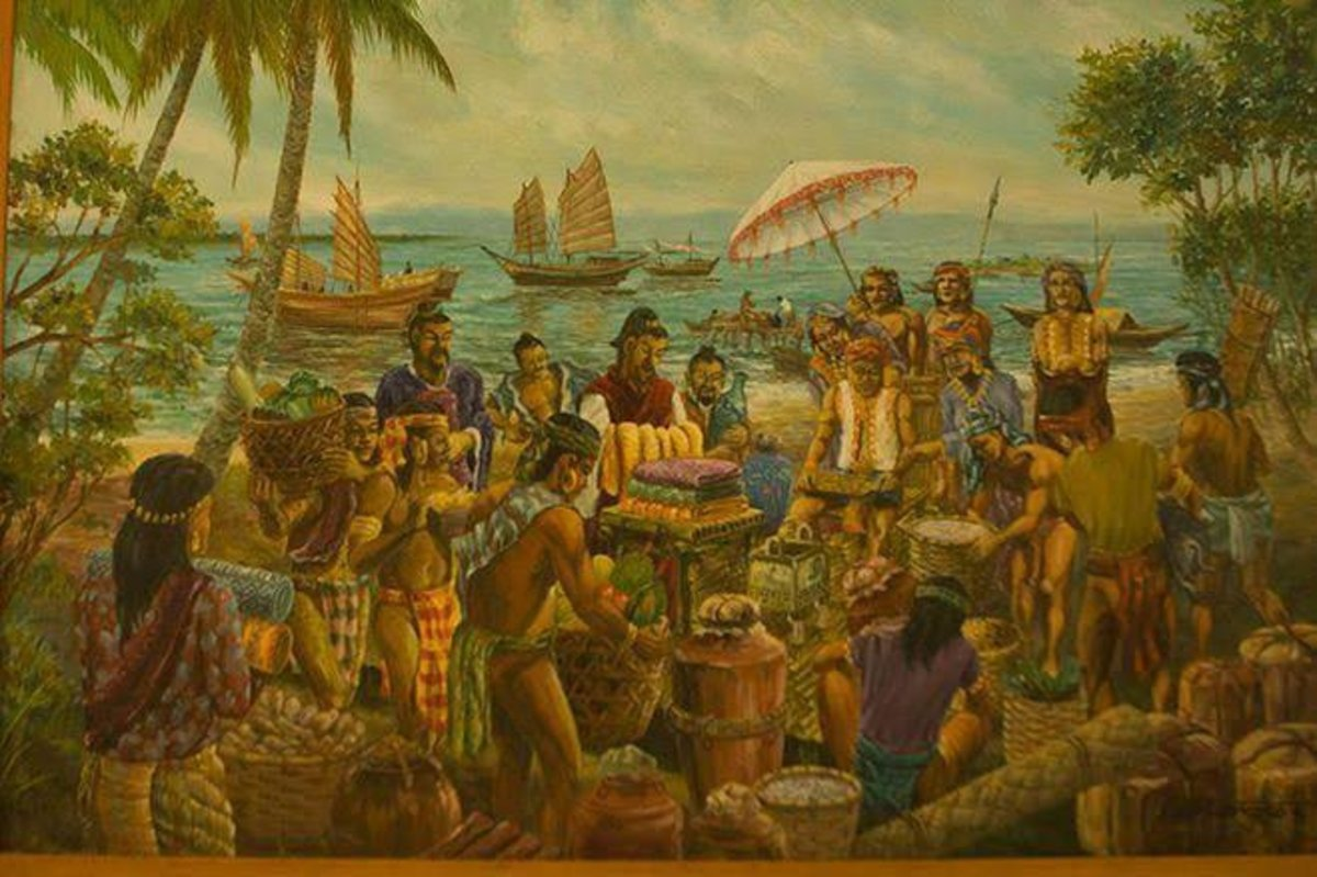 Depiction of the precolonial trade with the Chinese.