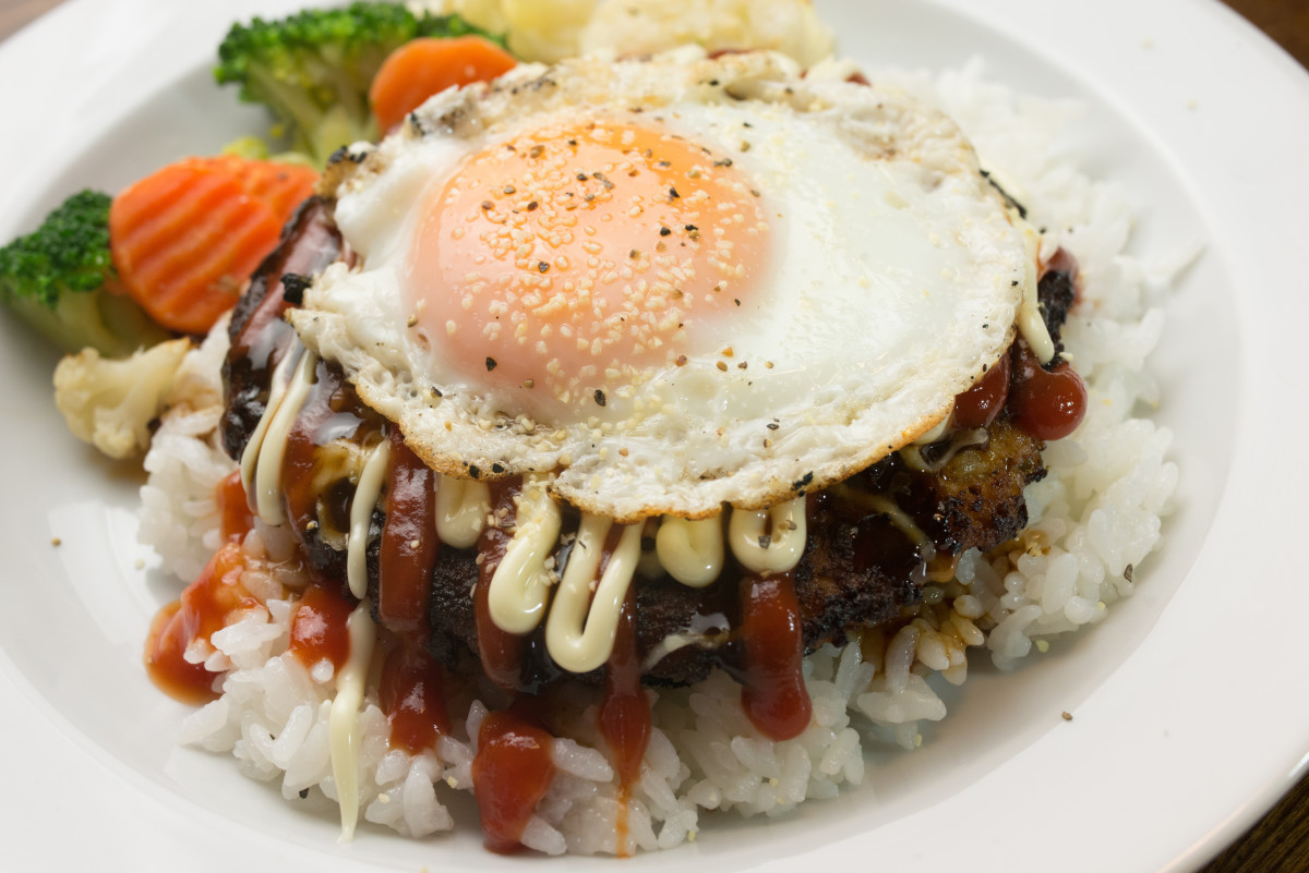 Tsukimi loco moco - fried egg on top of rice and burger with sauce