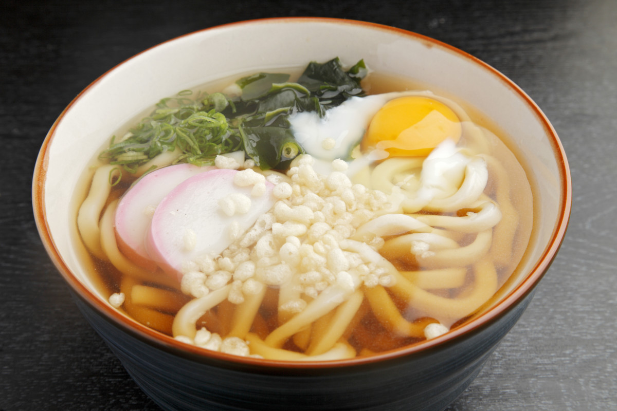 """Tsukimi udon"" - or udon with a raw egg dropped on top"