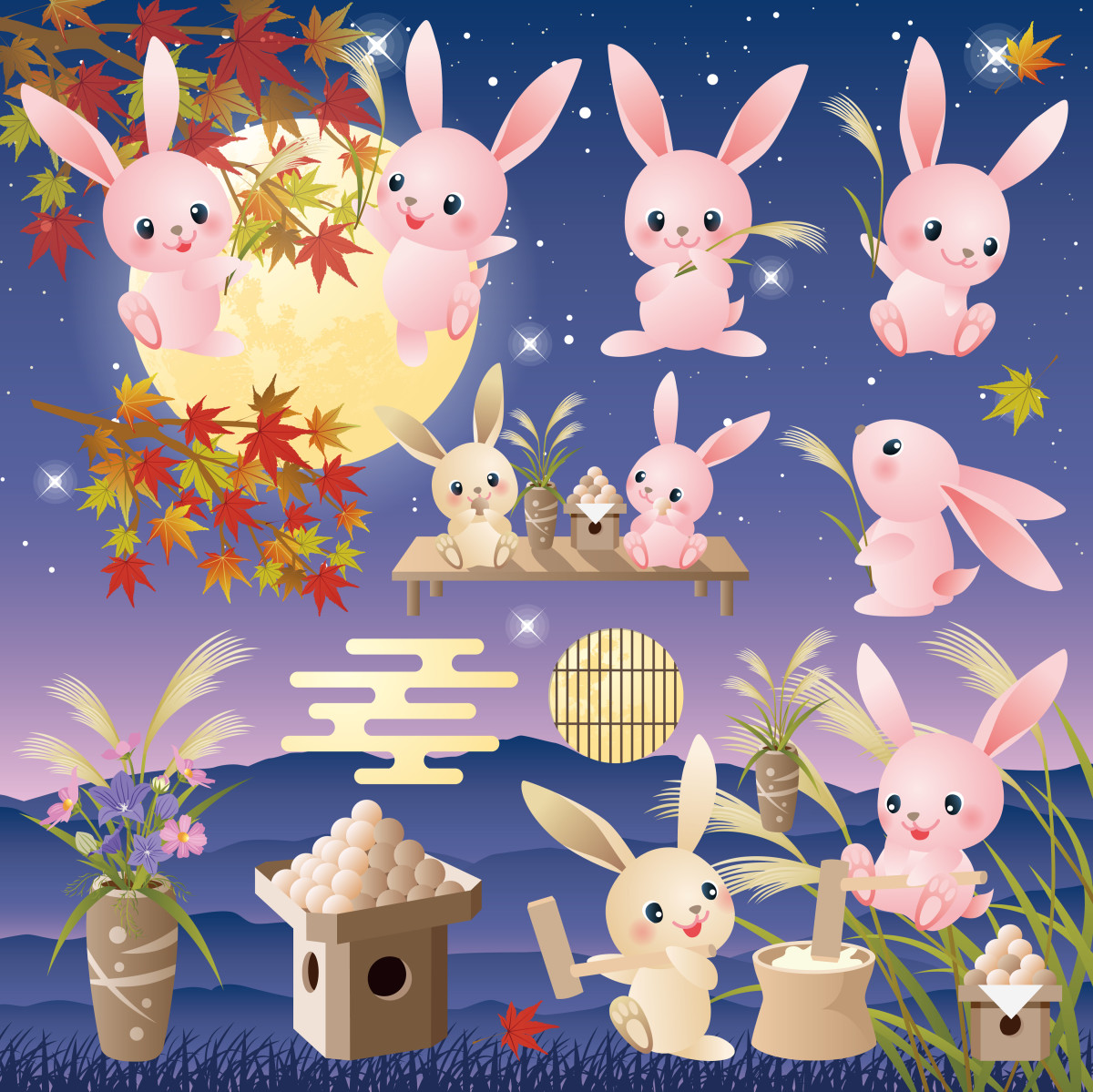 Bunnies performing various otsukimi activities