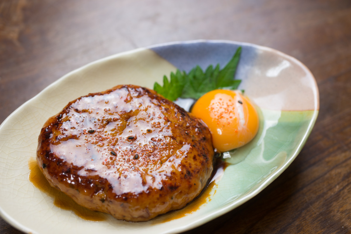 Tsukimi burger - without the bun, but with the raw egg