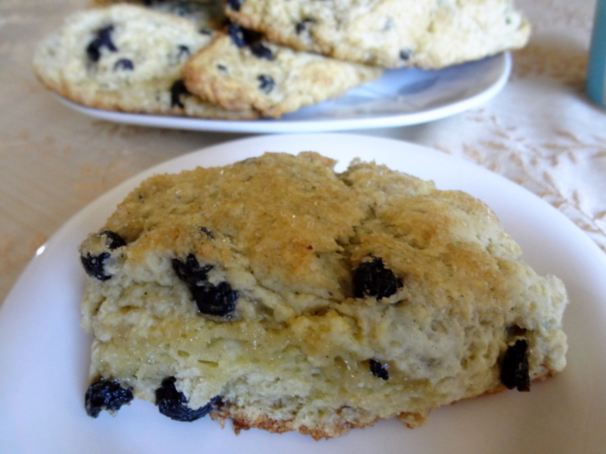 Scones with dried blueberries and lemon zest