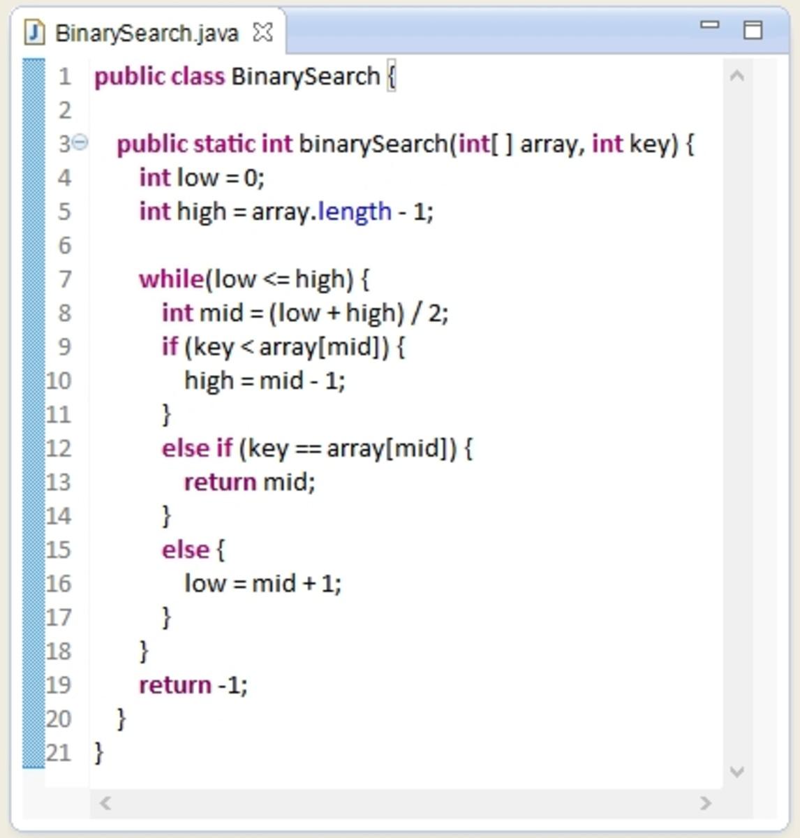 Binary Search class in Java.