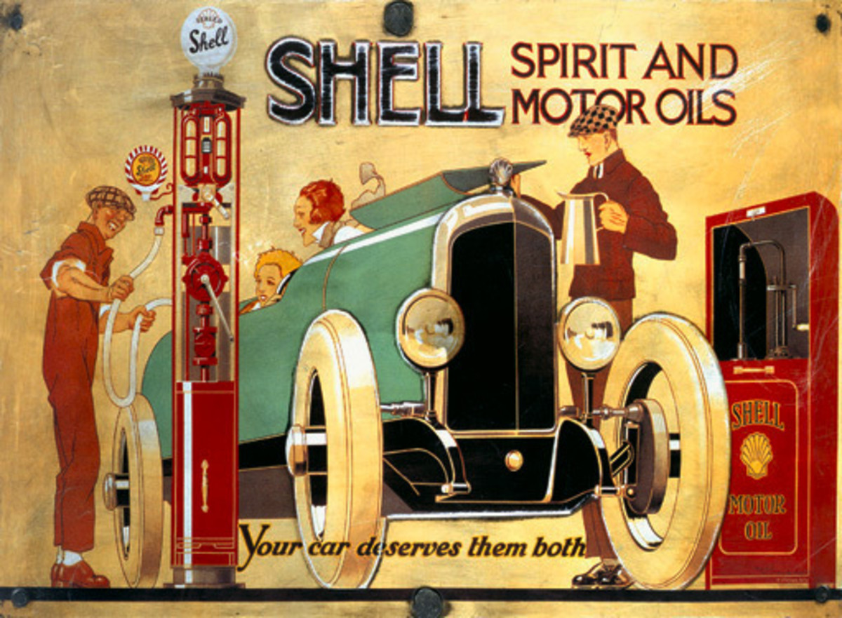 Vintage Shell Motor Oil Advertising Sign with Green Car and Art Deco Style Gas Attendant with Art Deco Man and Woman