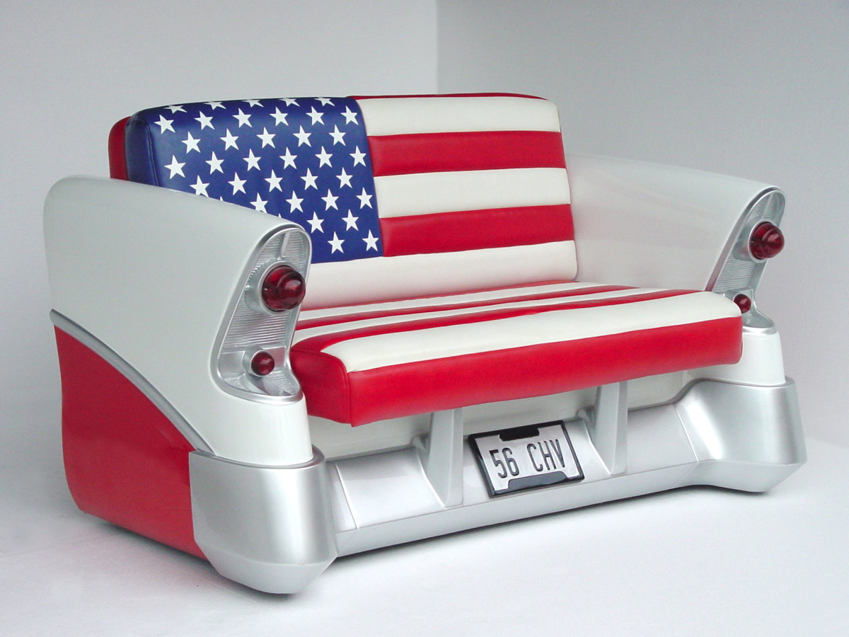 classic car couch upholstered in an American flag design