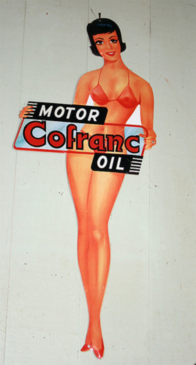 Vintage Cofranc Motor Oil Advertising Sign with Brunette in Red Bikini