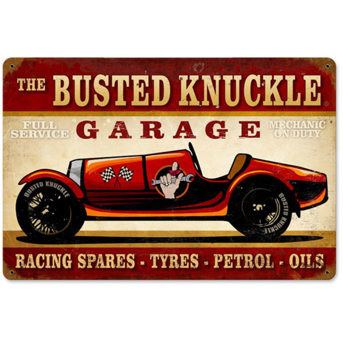 The Busted Knuckle Garage porcelain racing sign - classic automobilia