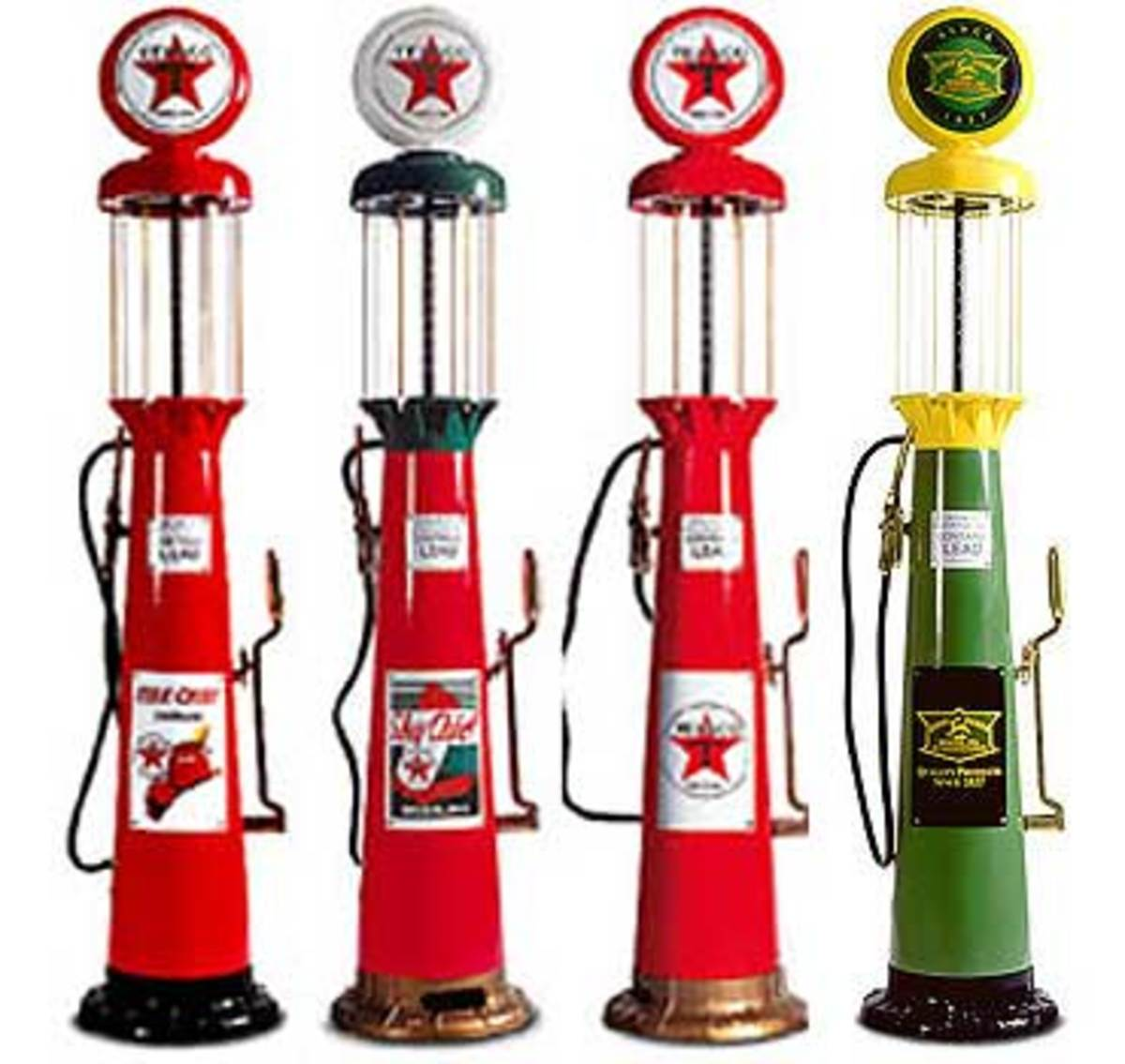 glass gasoline pumps - automobilia