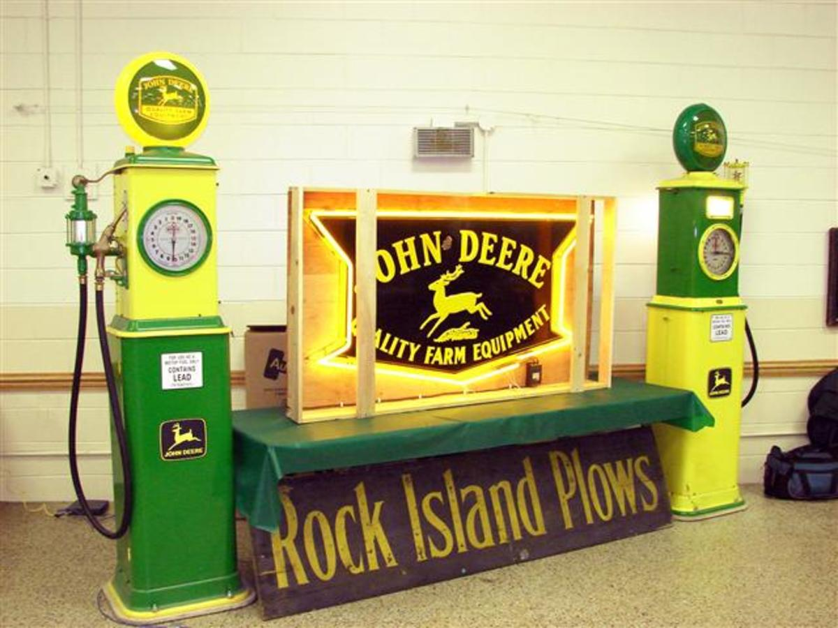 Various Vintage Advertising Road Side Art Including Lighted John Deere Sign along with Gasoline Pumps