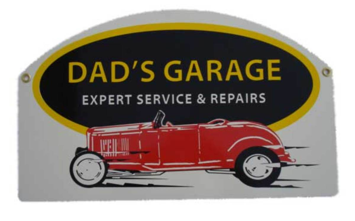 Antique Dad's Garage Sign with Red Antique Motor Car