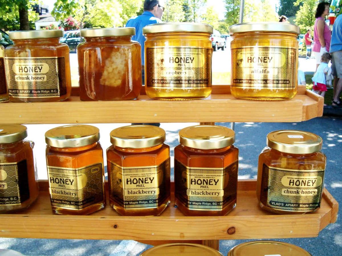 "Counterfeited honey may be ""thinned"" by adding high fructose corn syrup."