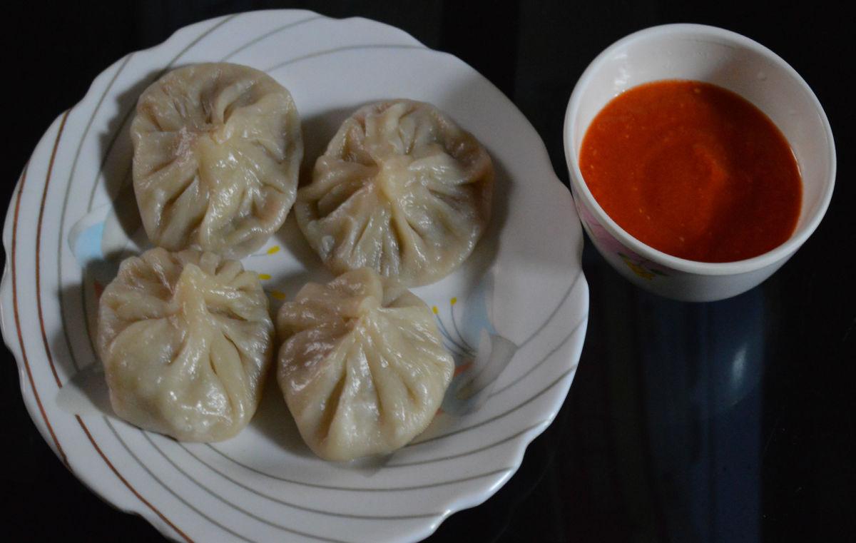 Veg momos (steamed vegetable dumplings)