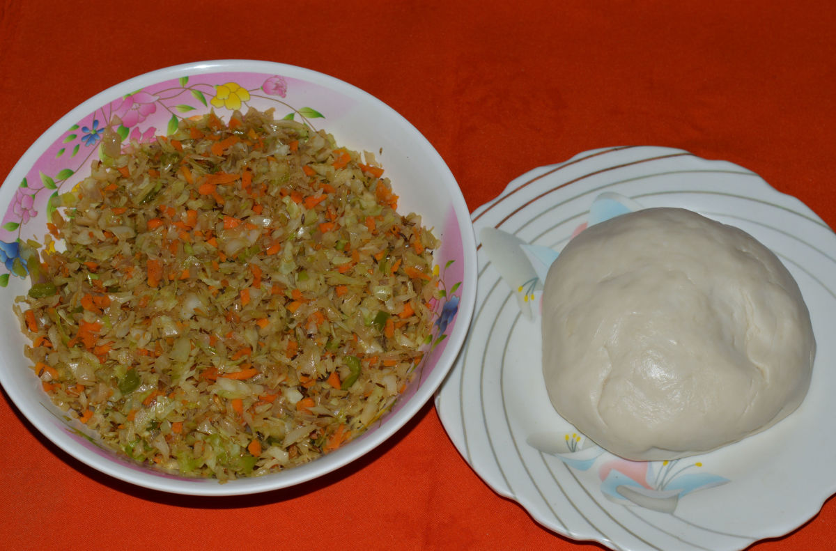 Step two: Prepare the dough as per instruction. The pic shows both dough and stuffing.