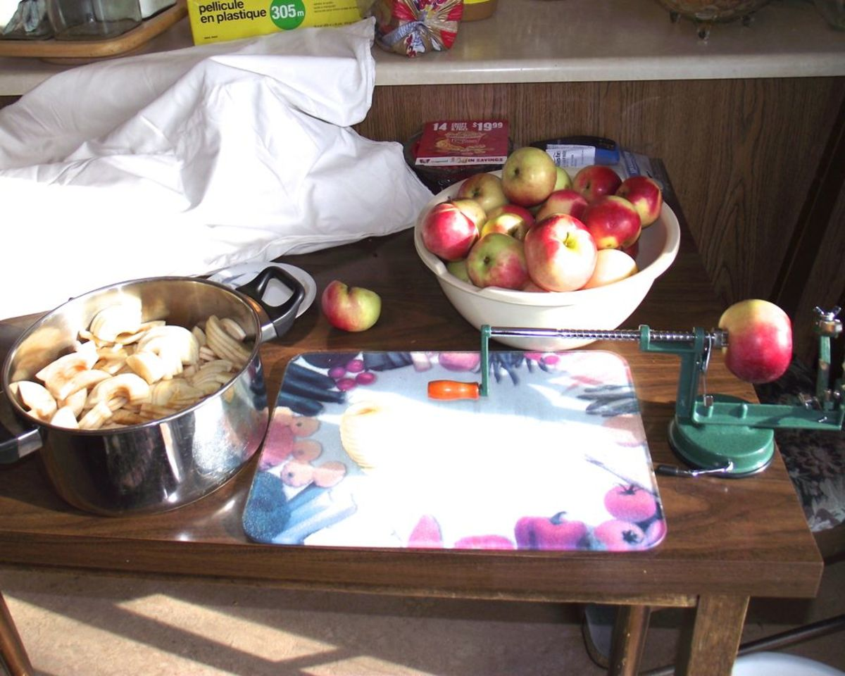 Peeling and chopping apples for baking.