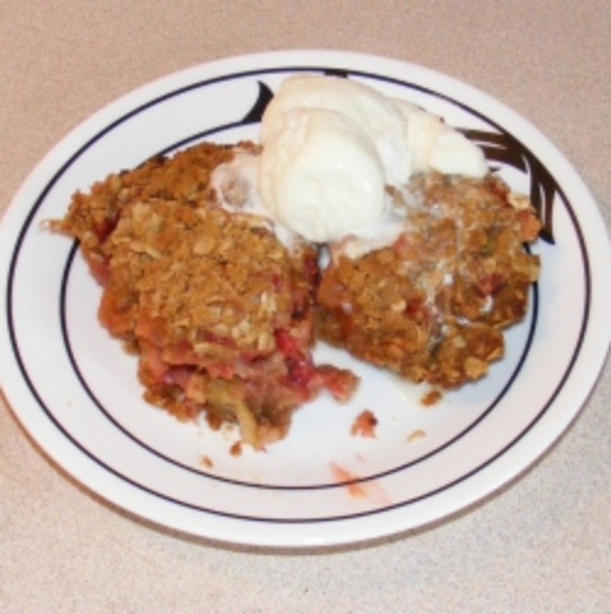 Homemade apple Rhubarb crisp.