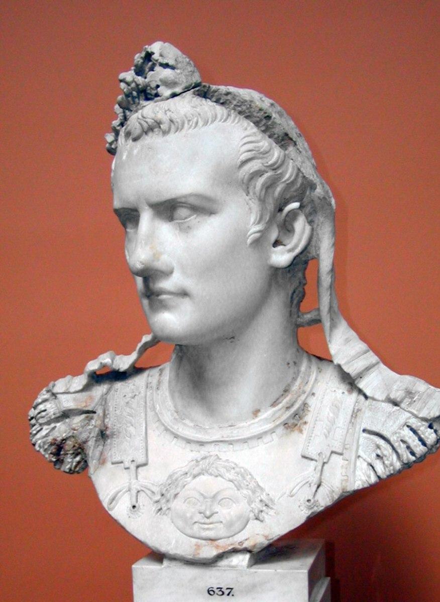 A bust of Roman Emperor Caligula.