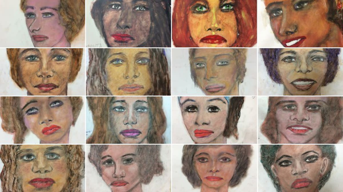 Drawings done by Samuel Little of his murder victims