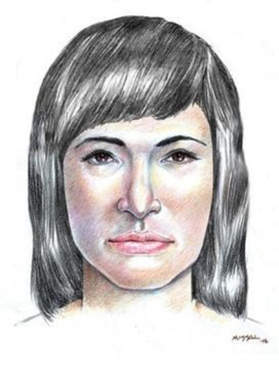 A sketch of the unidentified woman drawn the descriptions of people who interacted with her.