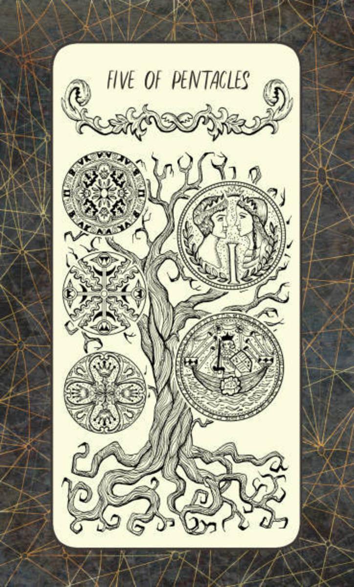 The Five of Pentacles represents long-term difficulties. This includes poverty, famine, pandemics, and economic collapse. Societal structure isn't as it should be.