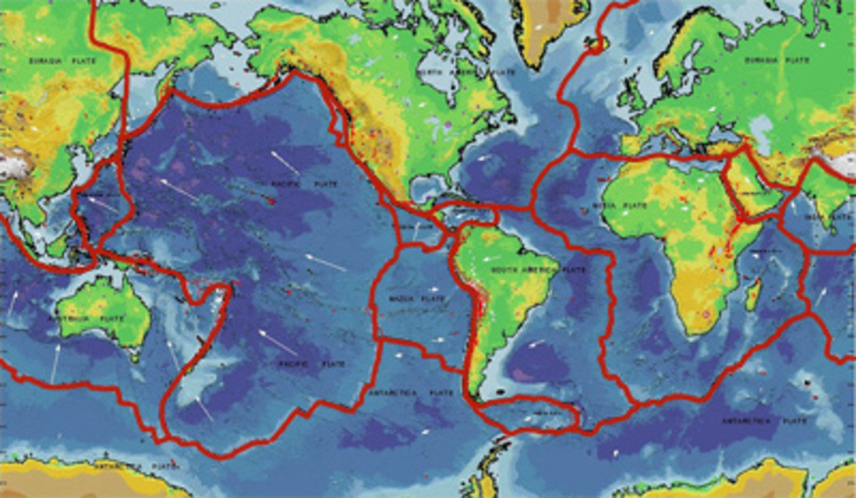 The areas of the world at risk from tsunamis are those close to tectonic plate boundaries, shown here in red, that run under the  sea