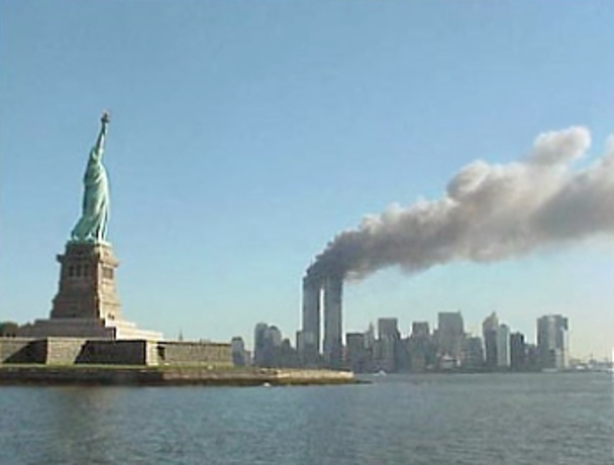 The Twin Towers burn on September 11, 2001