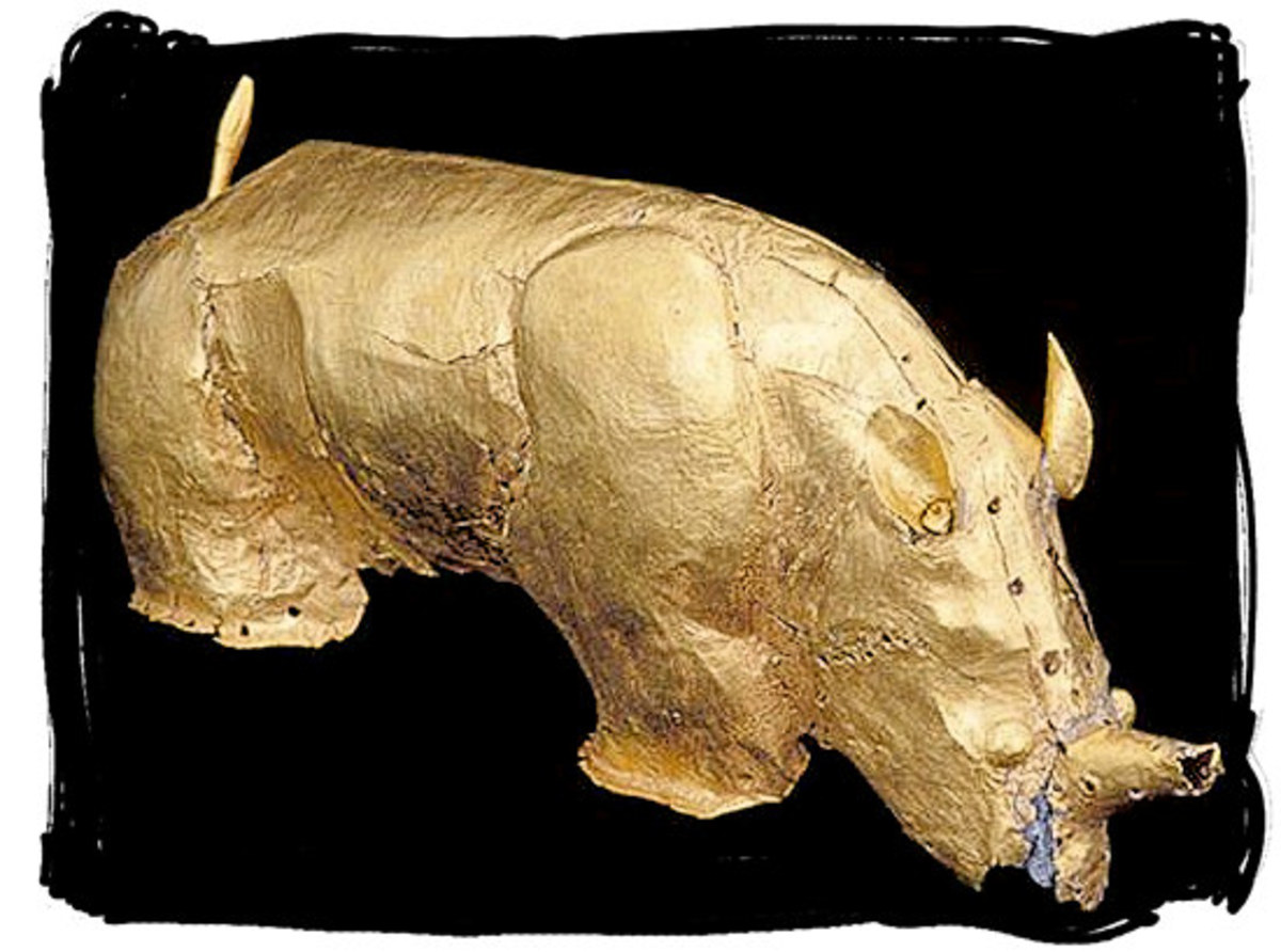 This a Golden Rhino from the Monomotapa - (Mapungubwe) civilization in South of Africa