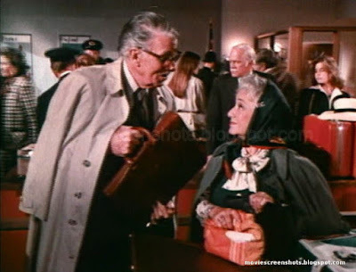 After an eventful flight, Charlie (Walter Pidgeon) and Ida (Molly Picon) decide to spend some time together in London