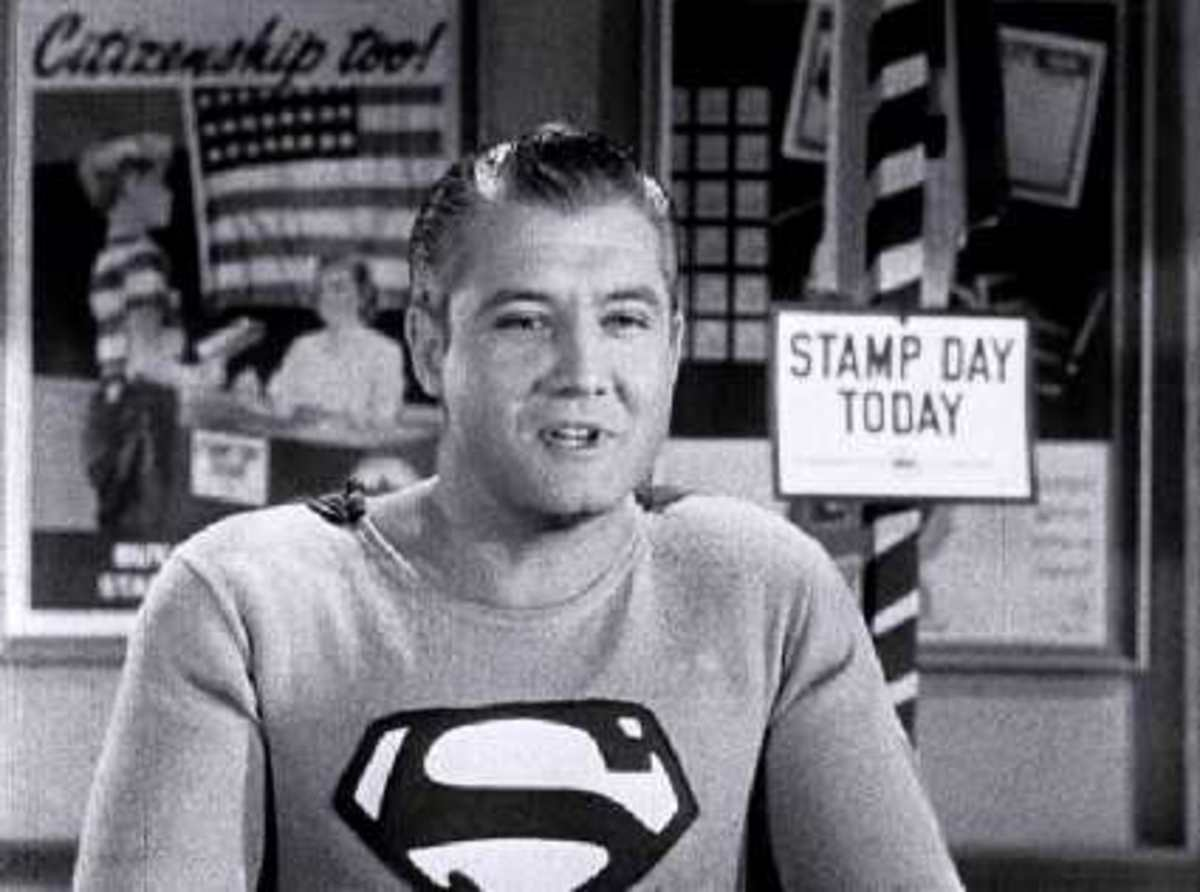 George Reeve as Superman in the 1954 film Stamp Day for Superman. It was produced for the U.S. Treasury Department to promote the sales of saving bonds.