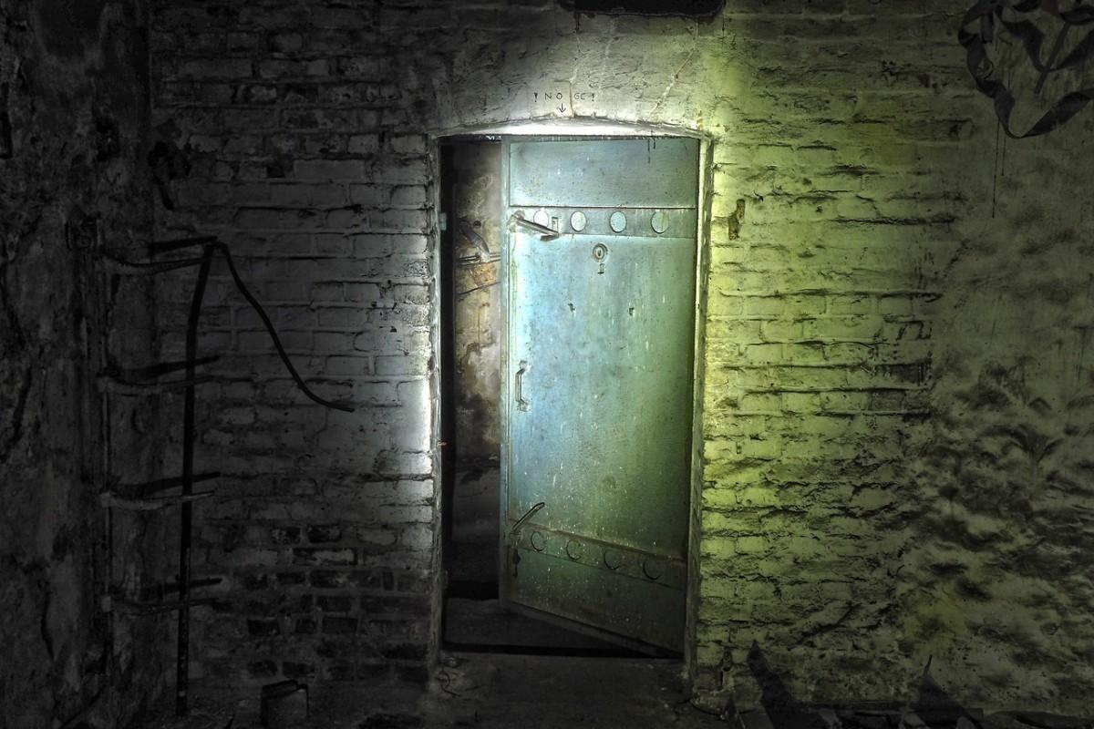 A wooden door awaits