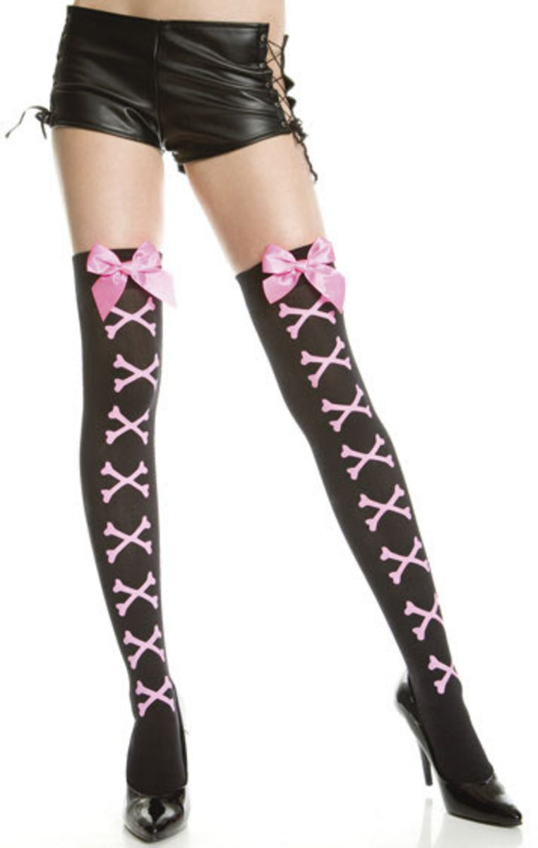 Black and pink thigh high with laces.