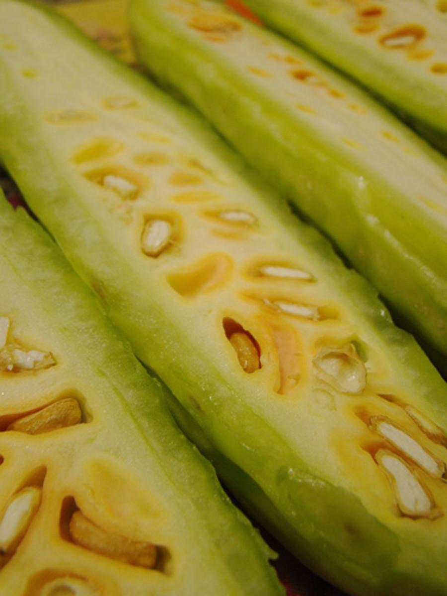 Bitter Melons Cut into Halves
