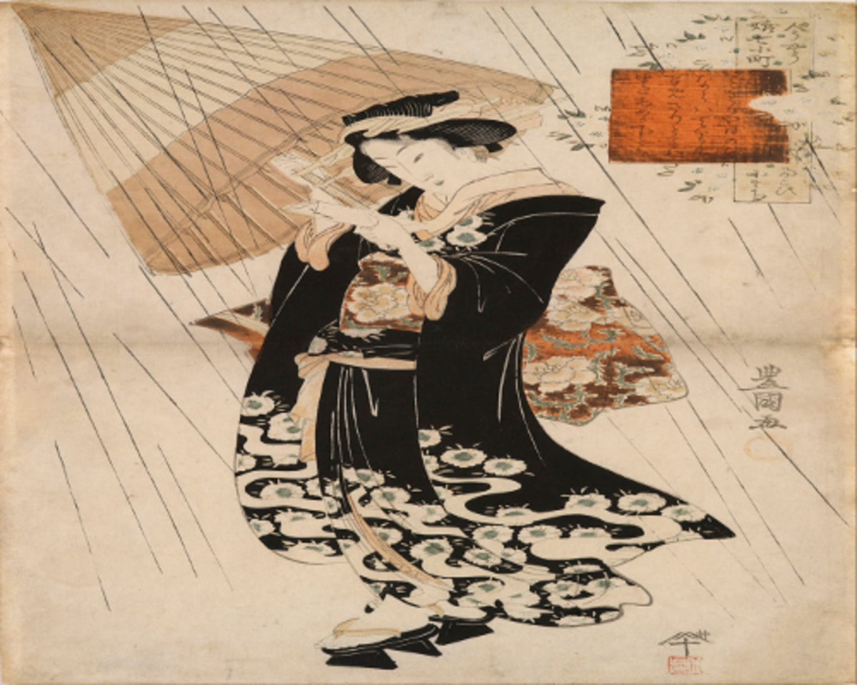 The poetess Ono-no Komachi in the rain