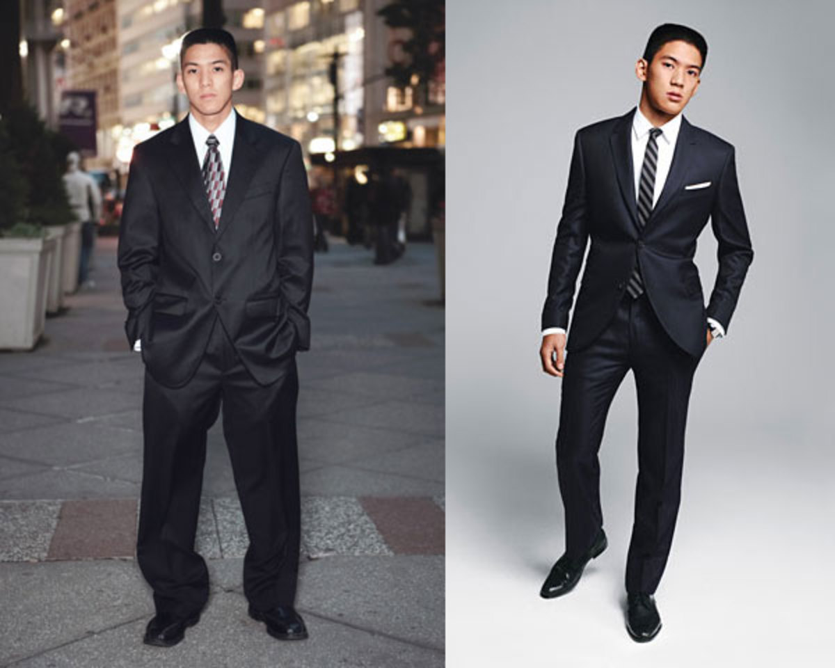 Same guy, same quality of suit, but very a different outlook. (Left side) The suit does not fit, it's too baggy. Looks terrible. (Right side) The suit fits. It may look too tight for some but it fits well. A suit can be more or less tight, depending