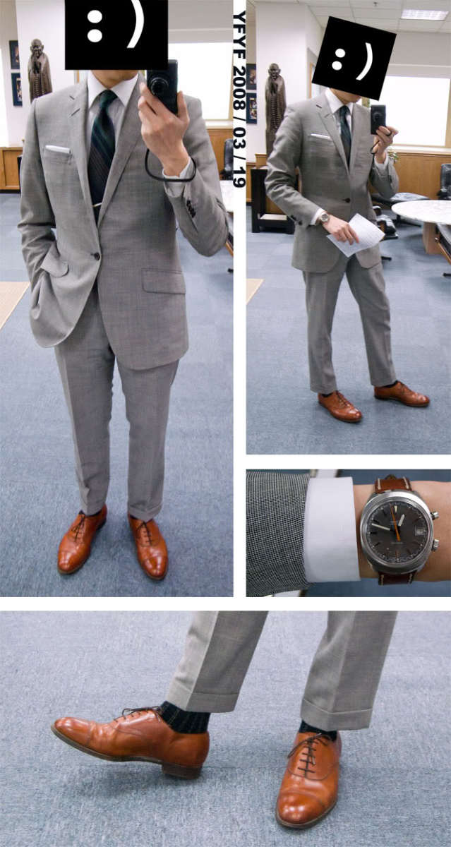 A suit in light grey with brown shoes (pic from styleforum.net)