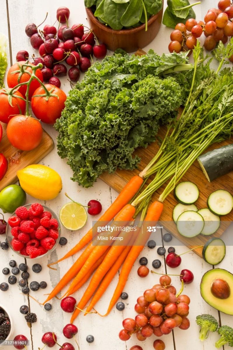 Fresh fruits and veggies.