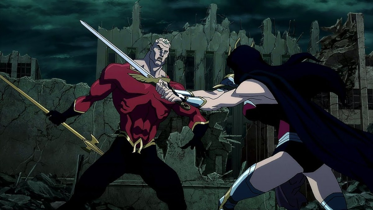 The fight between The King of Atlantis and the Warrior Princess.