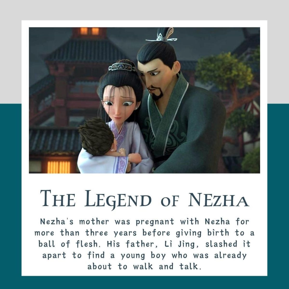 Nezha was born fully developed and can walk and talk.