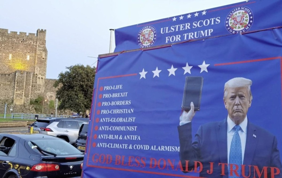 Trump poster on trailer touring loyalist areas