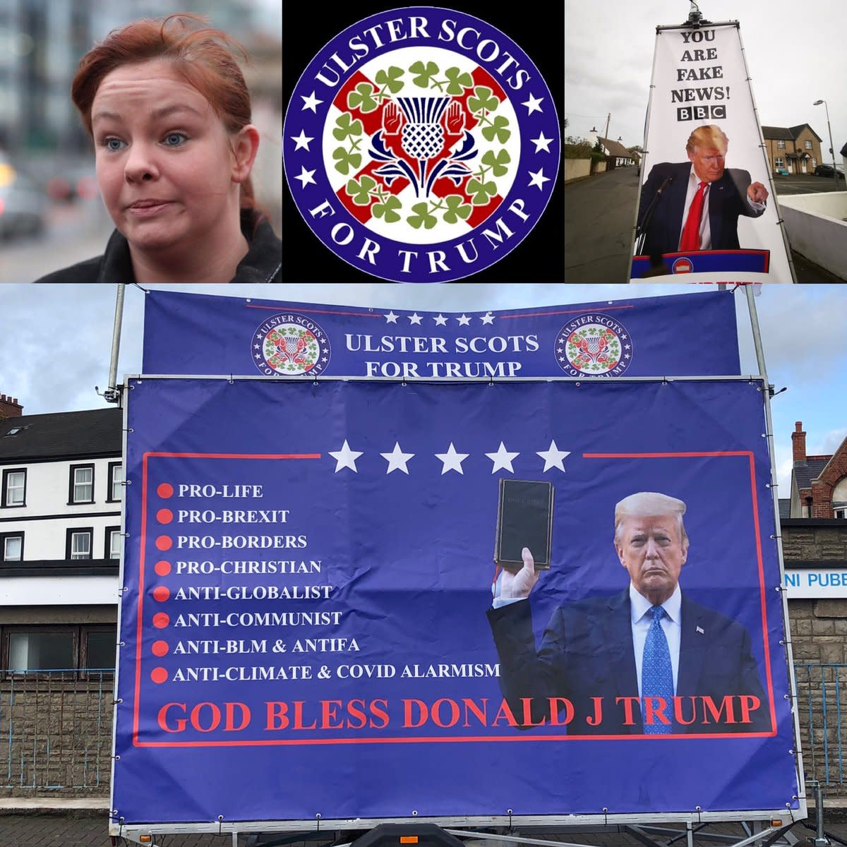 Political idiot Jolene Bunting promoting Trump in the British occupied North of Ireland