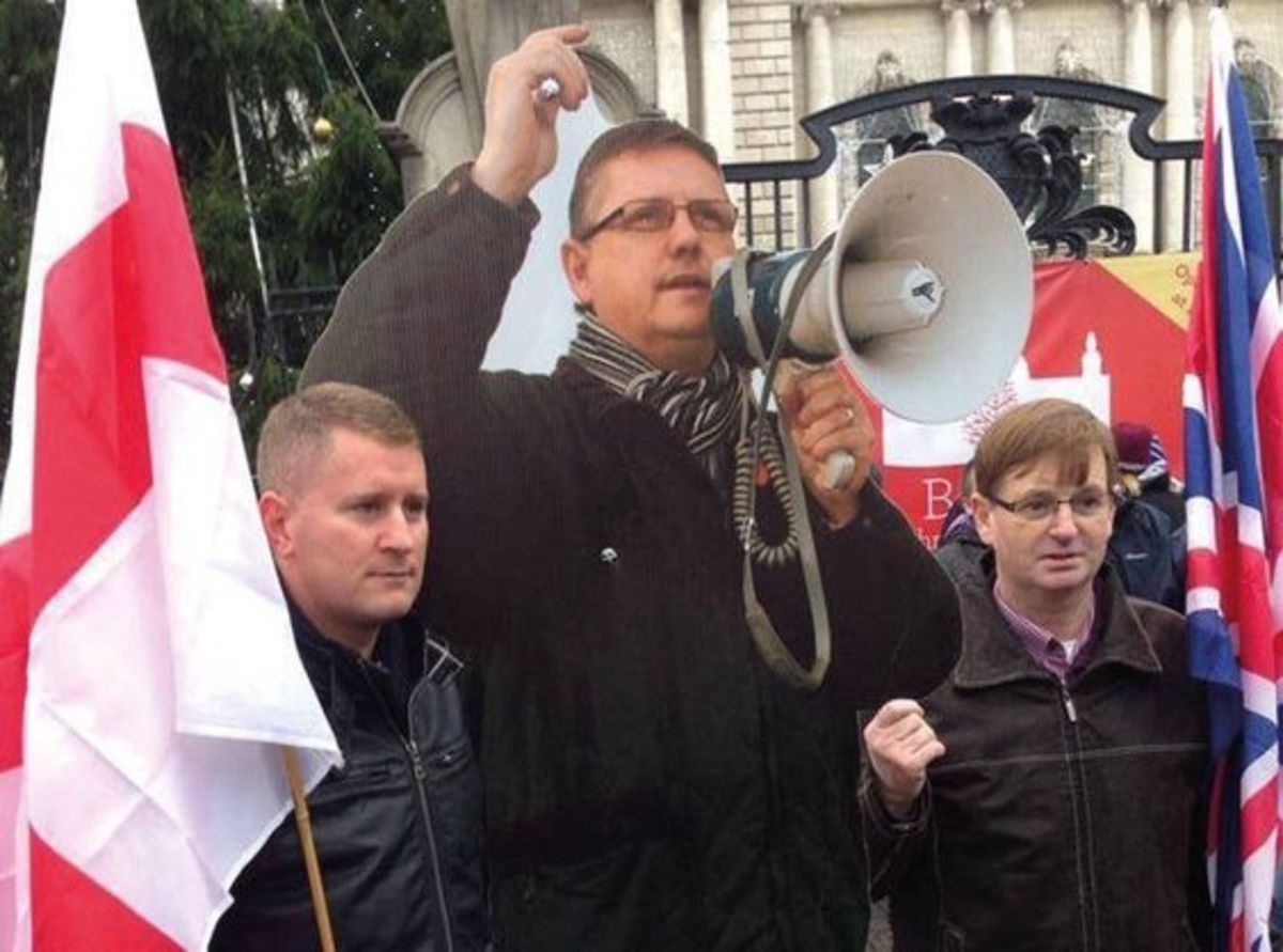 Dowson at a fascist Britain First protest outside Belfast City Hall