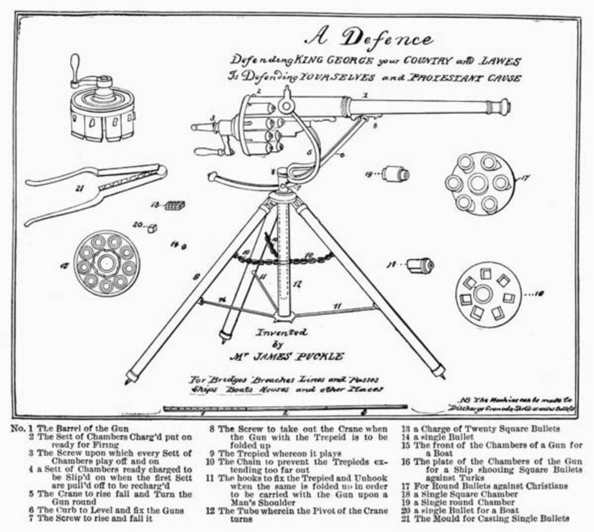 Patent drawing of Puckle Gun