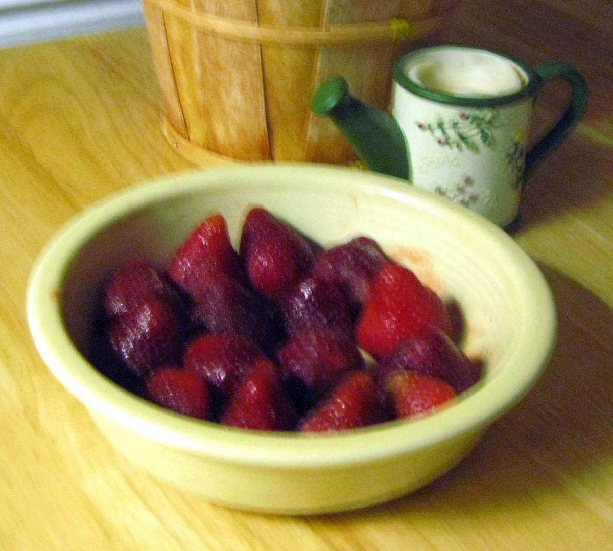 "A dish of ""non-poisoned"" strawberries--good to eat, and good for you!"