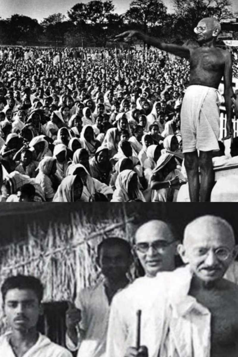 In Champaran Satyagrah, Gandhiji collected the people and enlightened them.