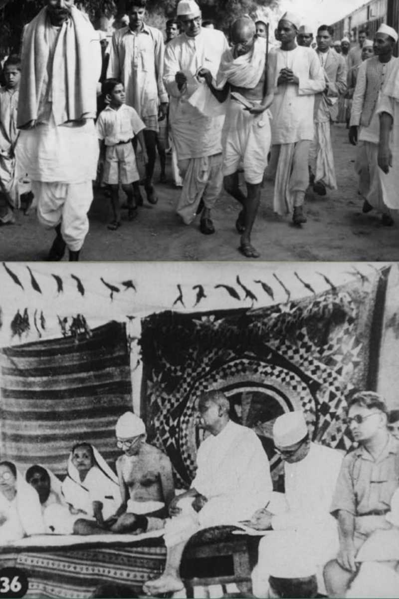 Photo shows, how he struggled for champaran and kheda movemnt and he succeeded both movement.