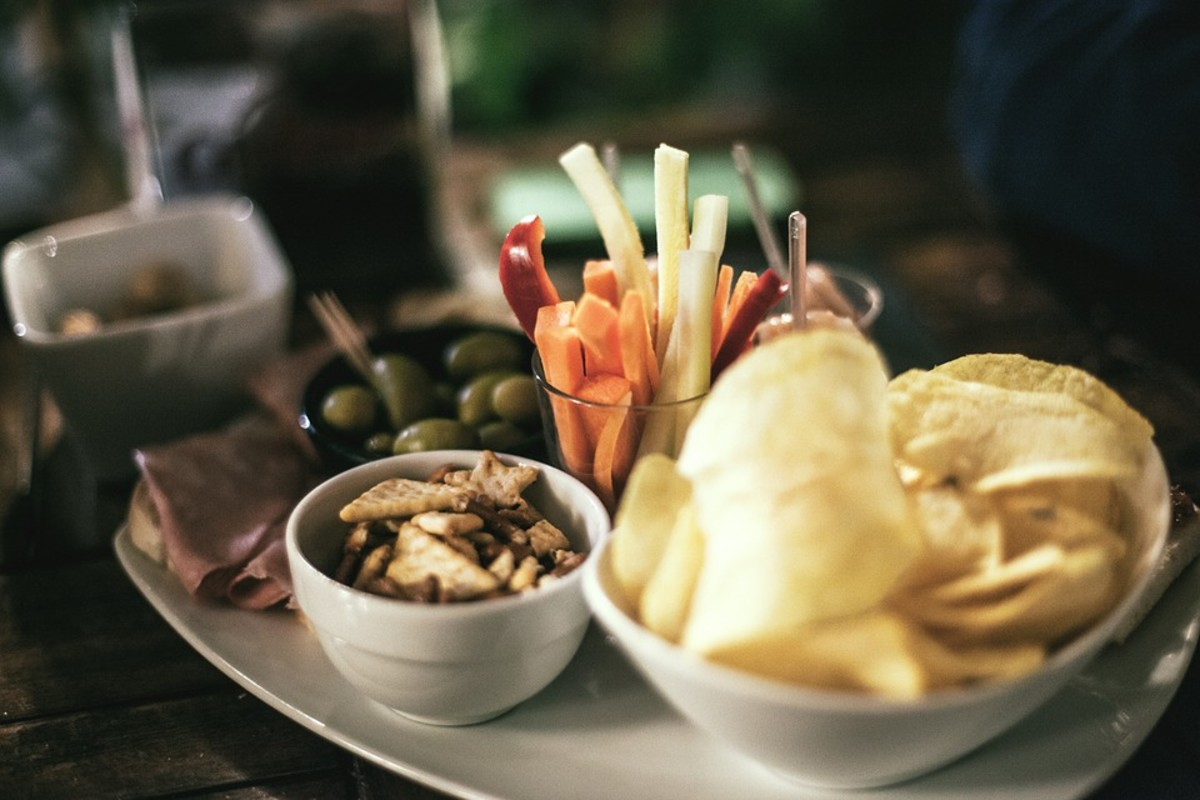 An array of Spanish appetizers (tapas)