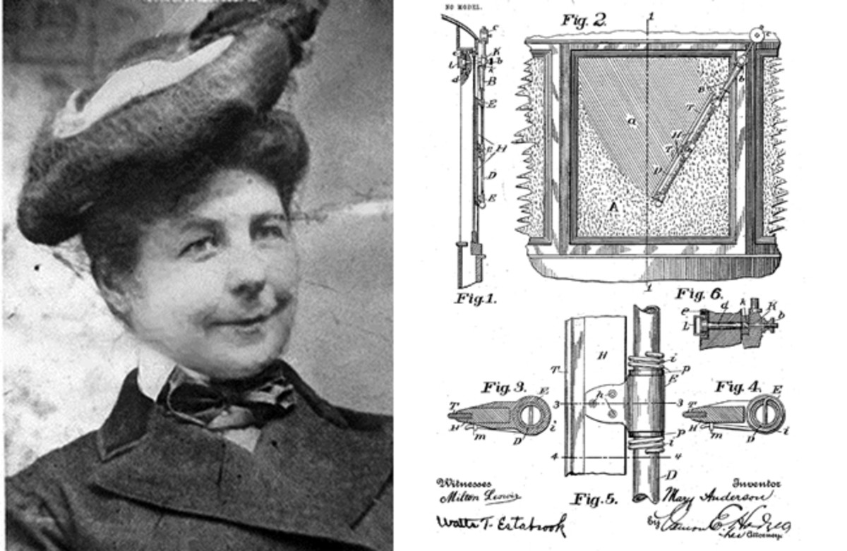 Mary Anderson and drawing of her patent idea for the windshield wiper