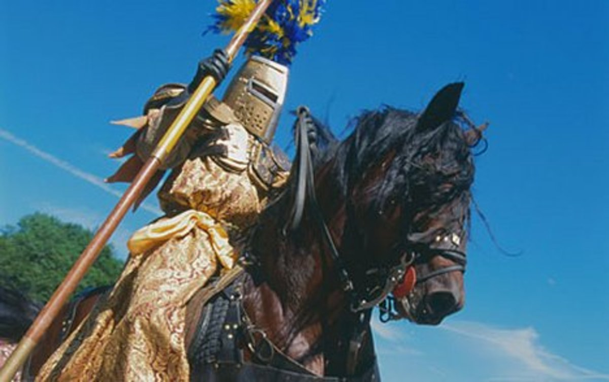 """Knights of old would aim for brass rings while in jousting tournaments. Picture titled: """"Knight on Horseback"""""""