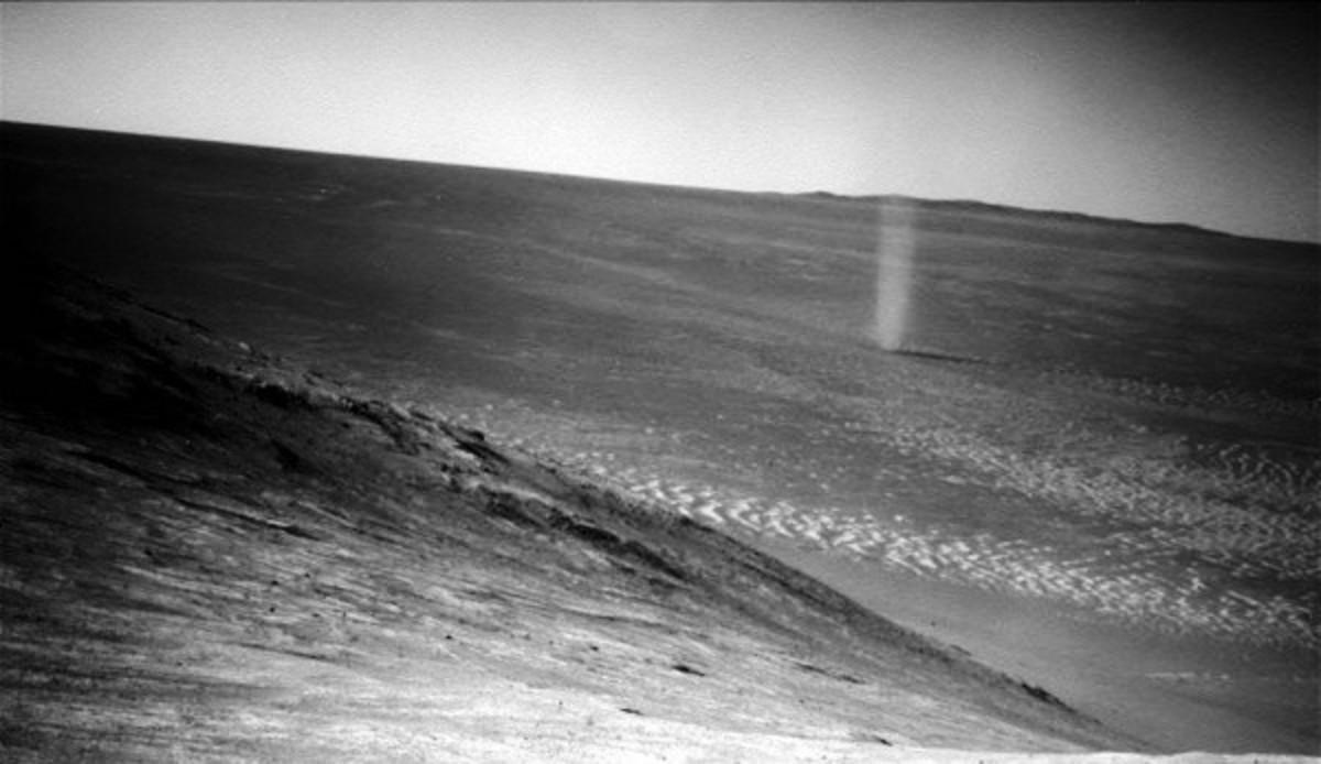 Actual photo of a Martian dust devil